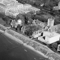 Aerial view of Evanston campus circa 1950